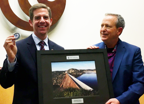 Rep. Mike Levin and San Diego County Water Authority Board Chair Jim Madaffer on November 6, 2019.