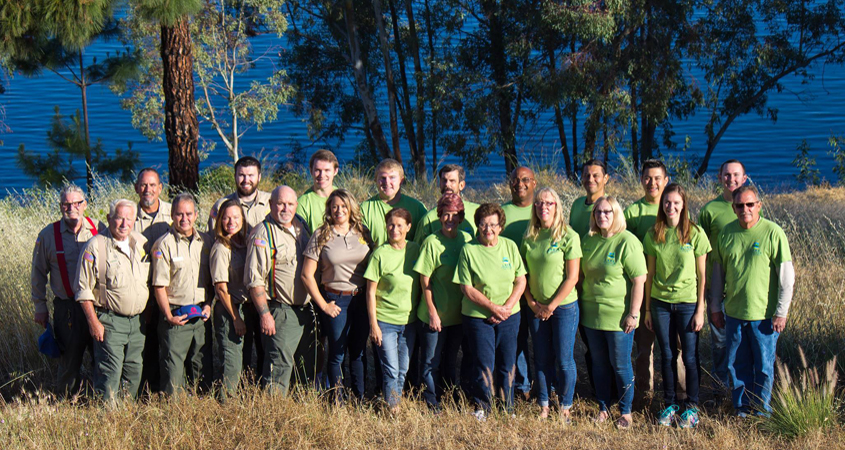 Lake Jennings staff including Recreation Manager Kira Haley (front row, fifth from left) rely on their dedicated volunteers including Lori Stangel (front row, sixth from left). Photo: Helix Water District