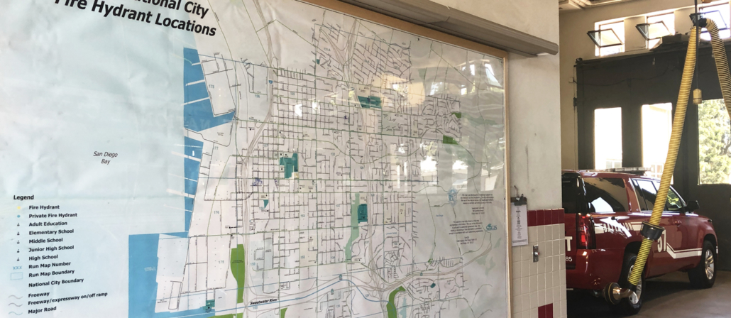 A map at Station 34 displays the location of all city fire hydrants. Photo: Courtesy Sweetwater Authority