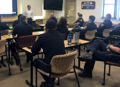 Sweetwater Authority Engineering Manager Luis Valdez gives a presentation to National City firefighters. Photo: Courtesy Sweetwater Authority National City Firefighters