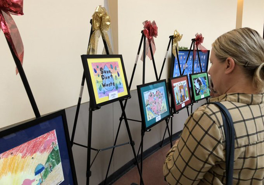 Original winning artwork was displayed as part of a recognition event on December 11. Photo: Otay Water District