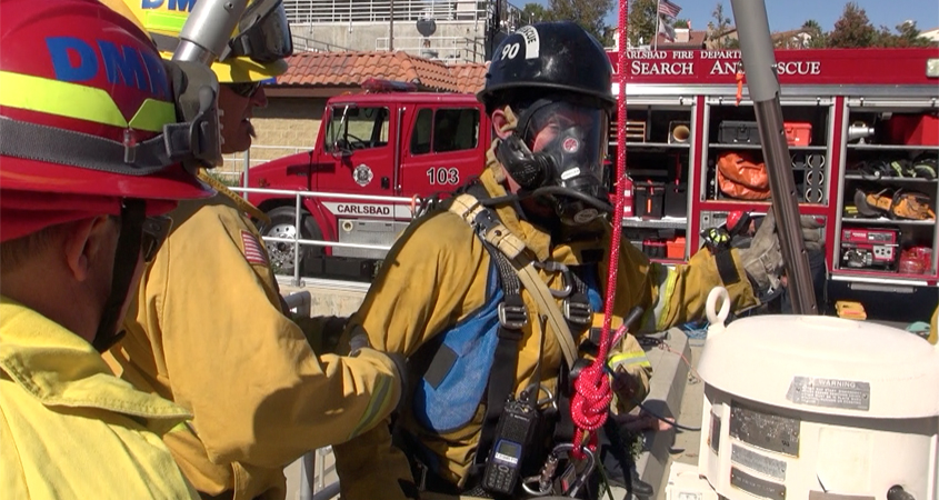 A firefighter prepares to access the Meadowlark Reclamation Facility as part of confined space training drills conducted with the Vallecitos Water District. Photo: Vallecitos Water District