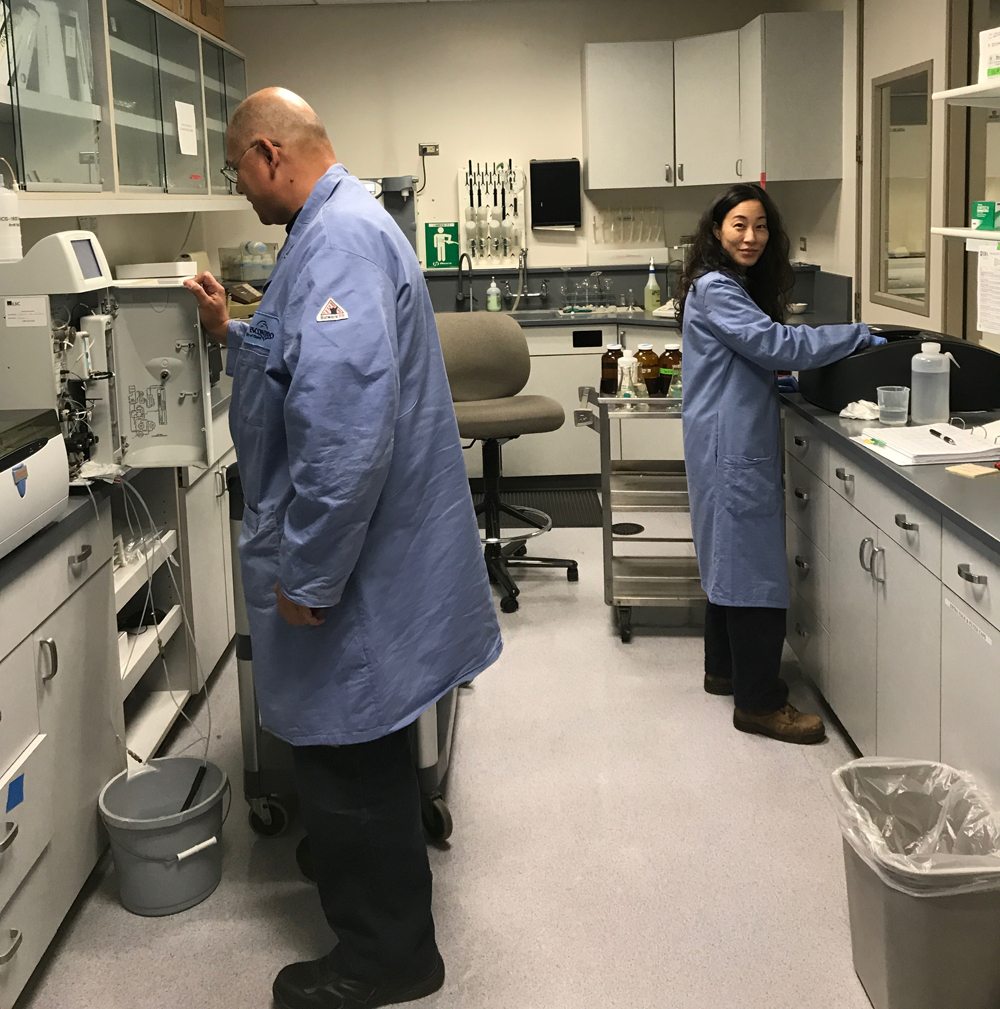 Damien Wong (left) and Michelle Sohn at work in the Escondido Water Quality Lab. Photo: City of Escondido