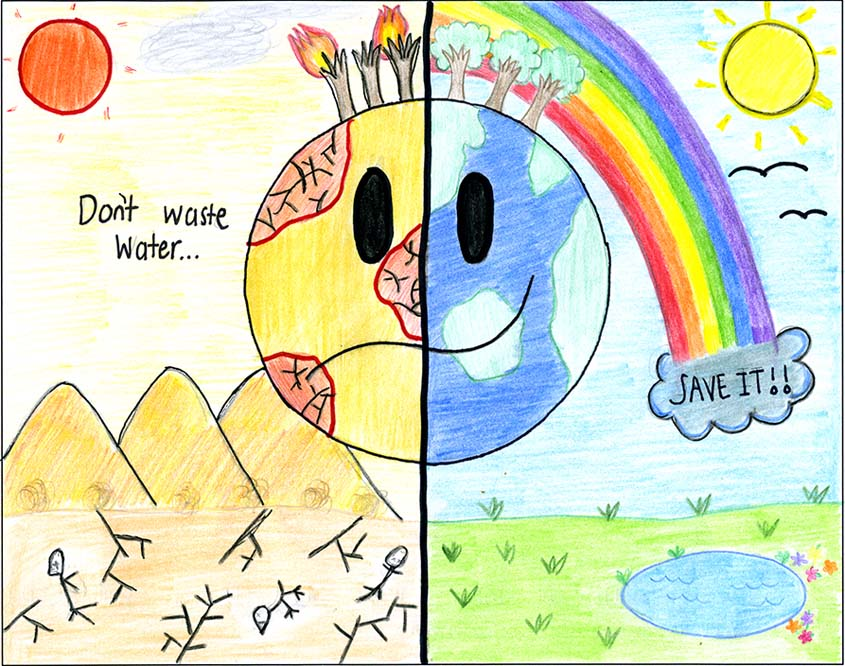 The artwork by first place winner Anahy Ambriz of Maie Ellis Elementary will appear on the cover of the 2020 Fallbrook PUD Calendar. Photo: FPUD 2020 Fallbrook PUD Calendar