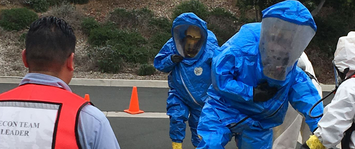Vallecitos Water District HAZMAT Team members go through the decontamination process as part of a recent training drill. Photo: Vallecitos Water District