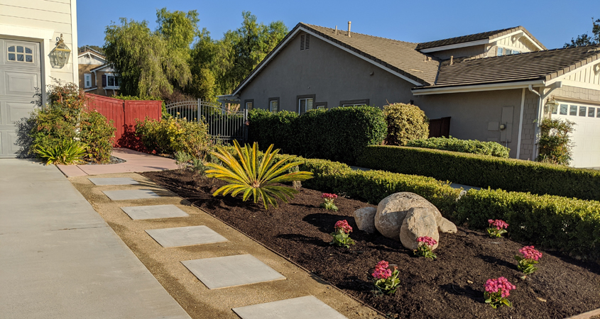 Homeowner Eileen Koonce discovered watersmart landscaping can be colorful and attractive. Photo: Vallecitos Water District example watersmart landscaping
