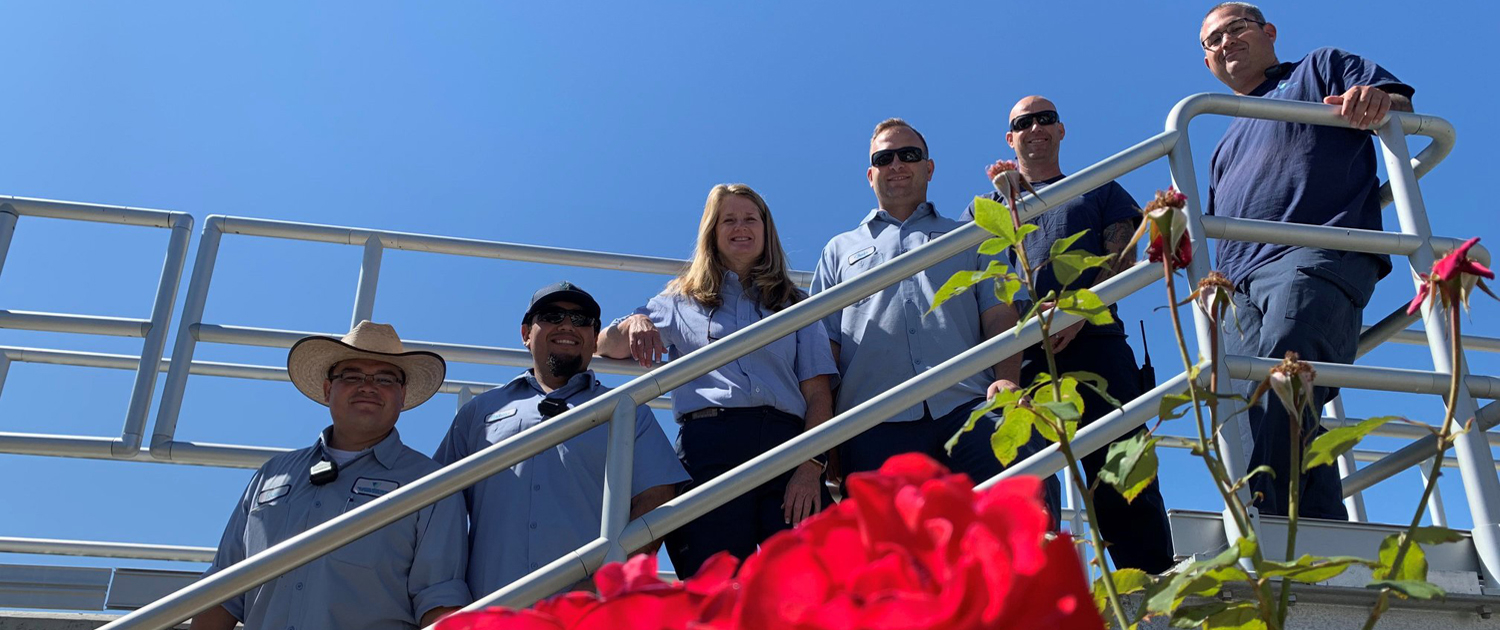 (L to R) Vallecitos Water District employees at the Meadowlark Water Reclamation Facility: Matt Wiese, Mark Smith, Dawn Mcdougle, Arturo Sanchez, and Chris Deering. Photo: Vallecitos Water District employees