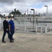 San Diego Mayor Kevin Faulconer tours the Alvarado Water Treatment Plant after meeting with workers to thank them for their continued service. Photo: City of San DIego water treatment plant