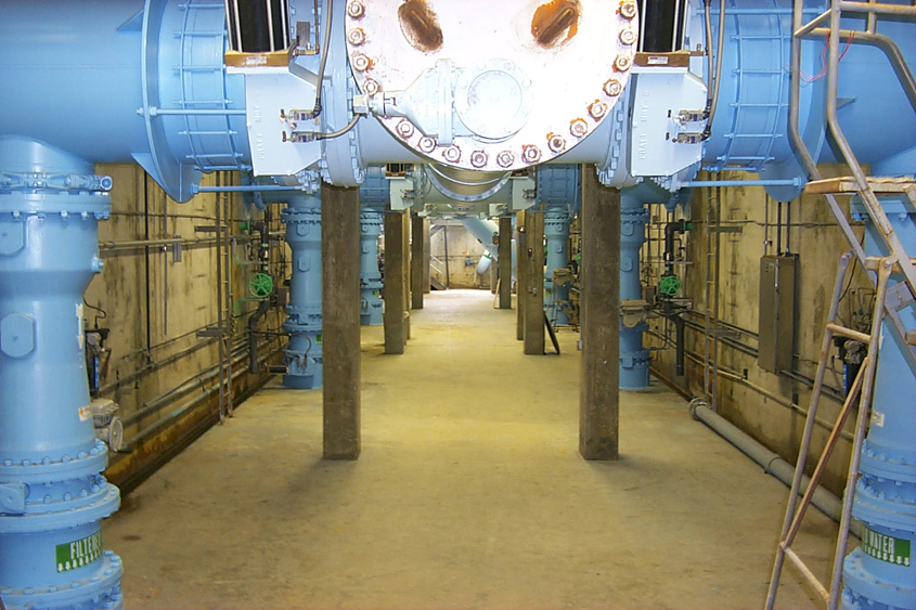 Pipes carrying water through the treatment process at the Alvarado Water Treatment Plant. Photo: City of San Diego