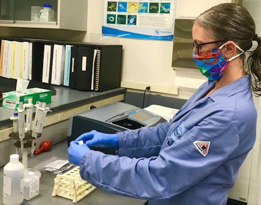 As part of ongoing monitoring at the Escondido Water Quality Lab, Associate Chemist Sarah Shapard performs tests analyzing for ammonia. Photo: City of Escondido
