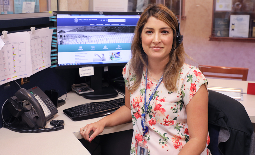 Sweetwater Authority Customer Service Representative Vanessa Olivares continues to answer calls and assist with inquiries. Photo: Water Authority water pros working