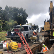 The Fallbrook PUD Board tour group initially drove from the FPUD administration building to the Alturas Road plant and then traveled along the pipeline alignment before arriving at the Gheen Pump Station. Photo: Fallbrook Public Utilities District