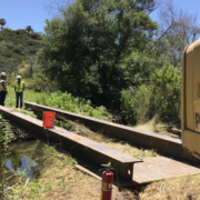 This temporary bridge allowed Vallecitos Water District crews to repair a manhole without affected sensitive habitat. Photo: Vallecitos Water District rehab manhole