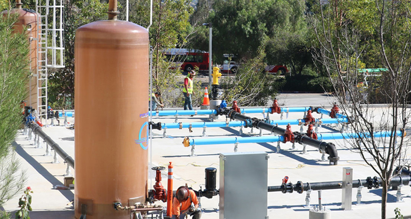 Cuyamaca College's innovative Field Operations Skills Yard is newly updated to provide students with practical challenges they will face in today's complex water and wastewater facilities when they are able to return to campus. Photo: Cuyamaca College