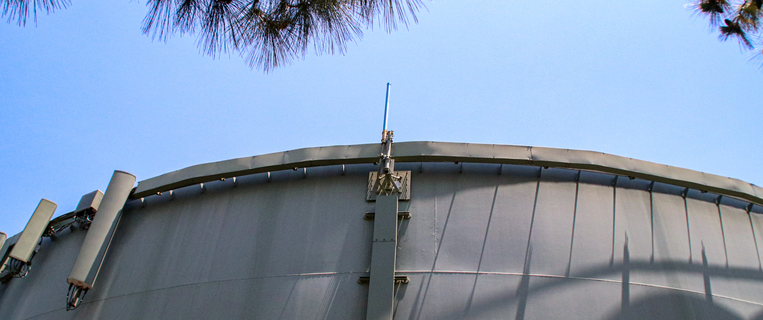 Helix Water District's Calavo storage tank was ideally positioned to play home to the new repeater. Photo: Helix WD emergency communication
