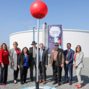 "Oceanside city leaders and water experts placed a giant Google Maps ""location pin"" into the ground at the San Luis Rey Water Reclamation Facility in February, which officially marked the new recycled water project on the map. Photo: San Diego County Water Authority Oceanside wins"