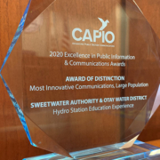 The Sweetwater Authority received CAPIO's EPIC Award earlier this month for its innovative communication for the Hydro Station Education Experience. Photo: Sweetwater Authority