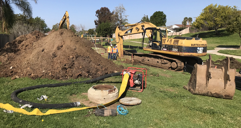 The location of the affected manhole put equipment and crews close to a SDG&E gas line inside a greenbelt park area. Photo: Vallecitos WD infrastructure
