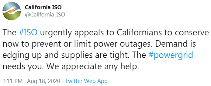 California ISO-heatwave-energy shortage-rolling blackouts