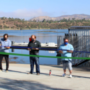 (L to R): Director DeAna Verbeke, Board President Mark Gracyk, Director and Parks, Land, Lakes and Garden Committee Chair Dan McMillan, Director and Parks, Land, Lakes and Garden Committee ViceChair Joel Scalzitti, and Director Kathleen Hedberg cut the ribbon for the new Lake Jennings Boat Dock on Monday, August 31. Photo: Helix Water District