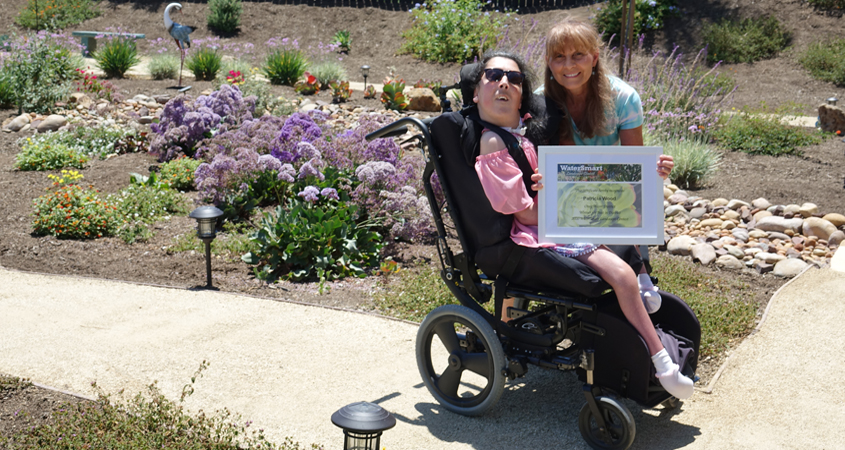 The beautiful, wheelchair accessible garden inspired by Patricia Wood's daughter Kimberly is the 2020 Otay Water District Landscape Contest winner. Photo: Otay Water District 2021 Landscape Makeover