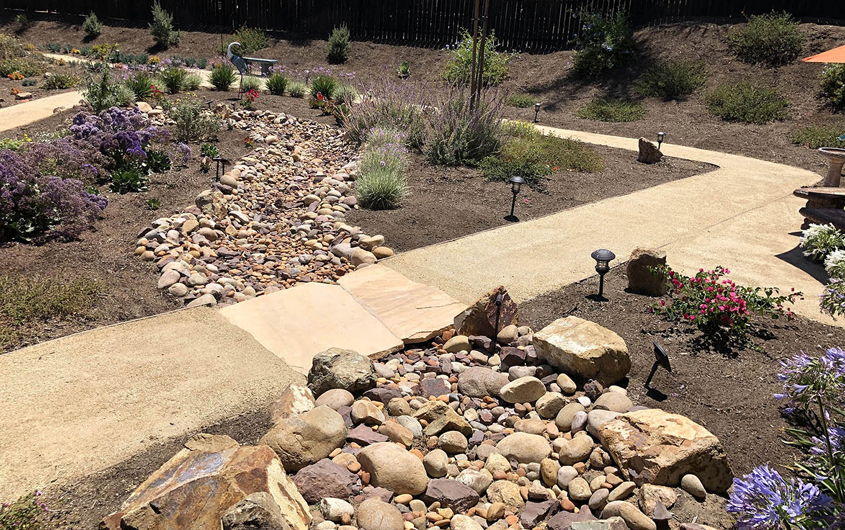Patricia Wood's landscape design has broad decomposed granite paths to accomodate a wheelchair. Photo: Otay Water District