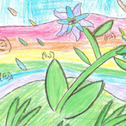 Second place winner Kylie Barbosa created a colorful illustration of bright flowers surrounded by a rainbow and multi-colored rain drops. Photo: Olivenhain Municipal Water District water awareness poster contest