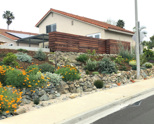 Olivenhain Municipal Water District's 2020 WaterSmart Landscape Contest winner Laura Lisauskas redid her family's street-facing sloped side yard. Photo: Olivenhain Municipal Water District