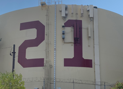 Fallbrook Public Utility District changes the painted numbers on its Rattlesnake Tank to reflect the year incoming seniors at Fallbrook High School will graduate. Photo: Fallbrook Public Utility District
