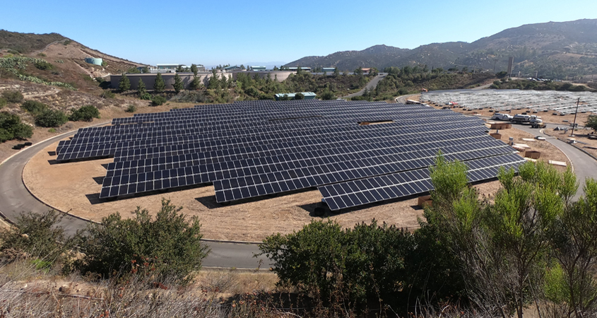 The Vallecitos Water District Twin Oaks Reservoir dual solar panel array is expected to be completed in November 2020. Photo: Vallecitos Water District Solar Project