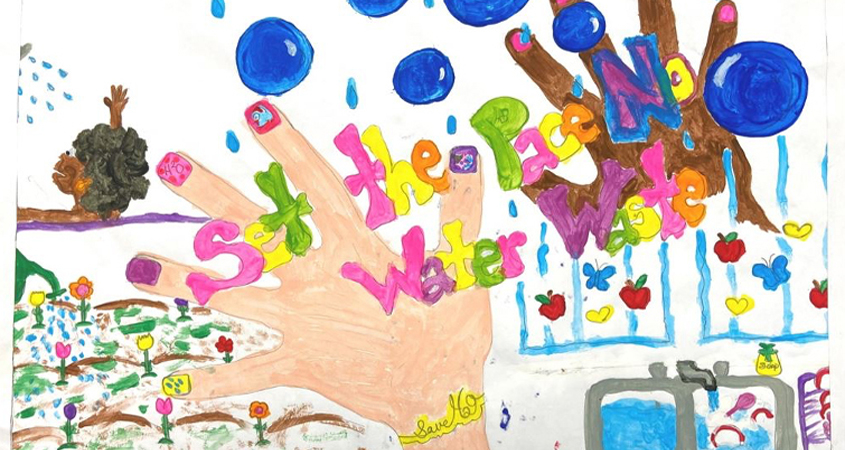 "Pashaun Tillman, a third grade student at La Mesa Dale Elementary School, won Honorable Mention in the K-3 category of the 2020 Helix Water District ""Water Is Life"" poster contest. Photo: Helix Water District"