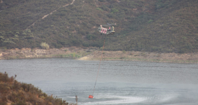 Loveland Reservoir-Firefighter Helicopter-Valley Fire-Sweetwater Authority