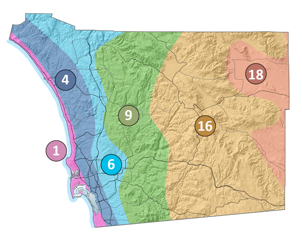 San Diego County's geography falls within six of the 24 CIMIS climate zones. Photo: CIMIS match your climate zone