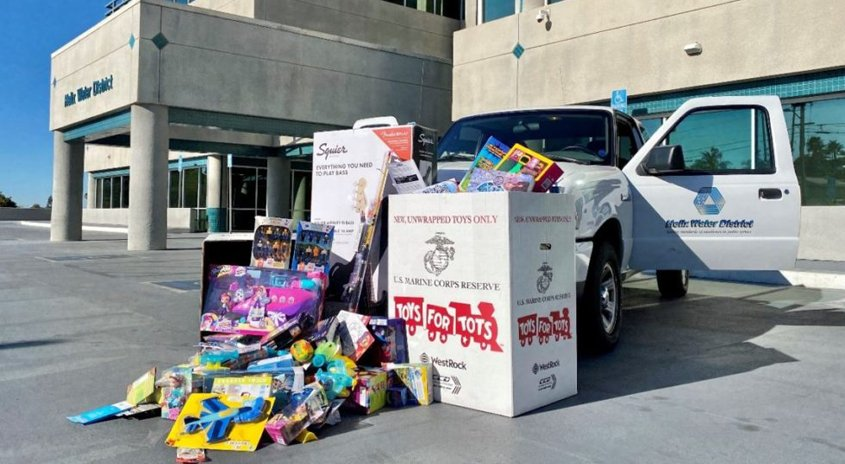 Helix Water District employees, board members and customers donated virtually and in person to Helix's Toys for Tots toy drive, which will provide holiday gifts to less fortunate children throughout East County. Photo: Helix Water District Holiday giving