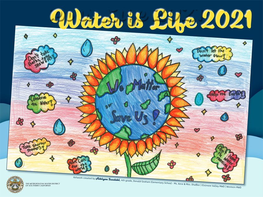 "Six San Diego region students were selected from 13,000 entries to appear in the 2021 ""Water Is Life"" calendar. Photo: MWD"