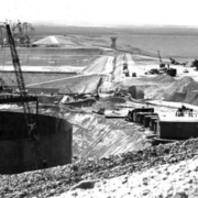The Miramar Reservoir dam under construction in 1960. The reservoir marks its 60th anniversary i 2020. Photo: Jeff Pasek, City of San Diego