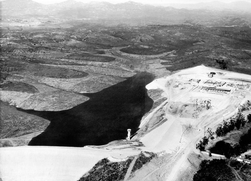 An aerial view of the Miramar Reservoir under construction in 1960. Photo: Jeff Pasek, City of San Diego
