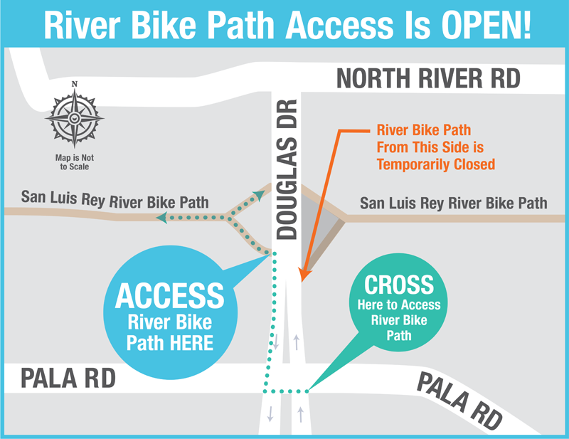 Access map for the popular River Bike Path while the Pure Water Oceanside project construction is underway. Map: City of Oceanside