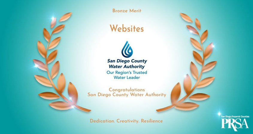 The Water Authority's Water News Network won a Bronze Bernays Award from the Public Relations Society of America San Diego/Imperial Chapter.