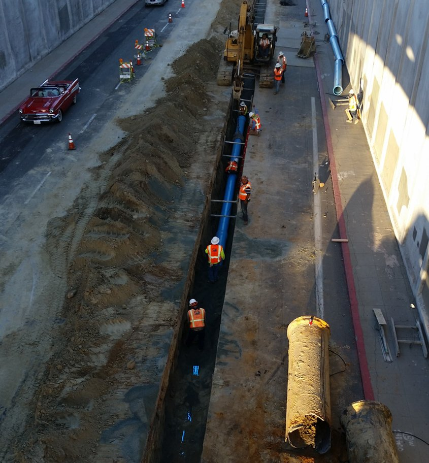 Crews replace old cast iron pipe with new PVC pipe along Park Boulevard. Photo: City of San Diego