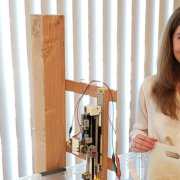 Students-Student displays science and engineering fair project