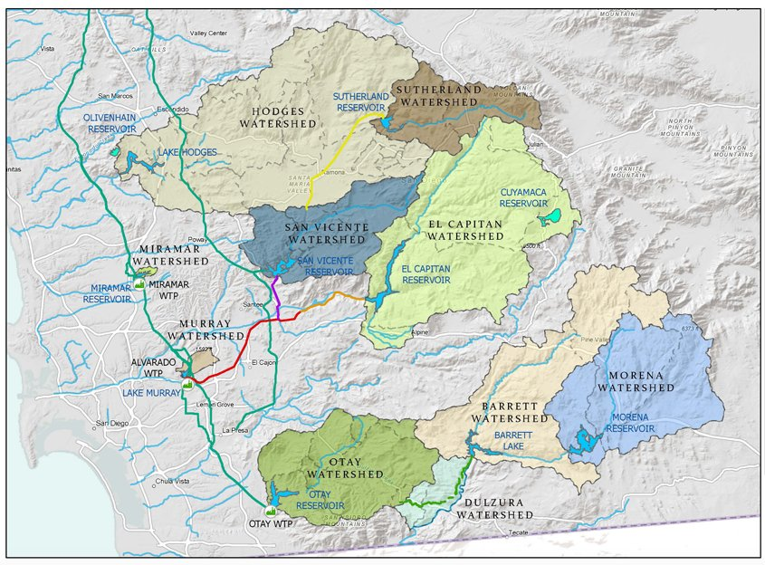 Six of San Diego County's watershed regions lie within the City of San Diego boundaries. Map: City of San Diego