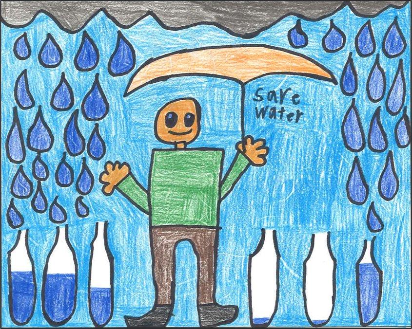 Third place winner Matthew Potter depicts rainfall as a precious water resource.