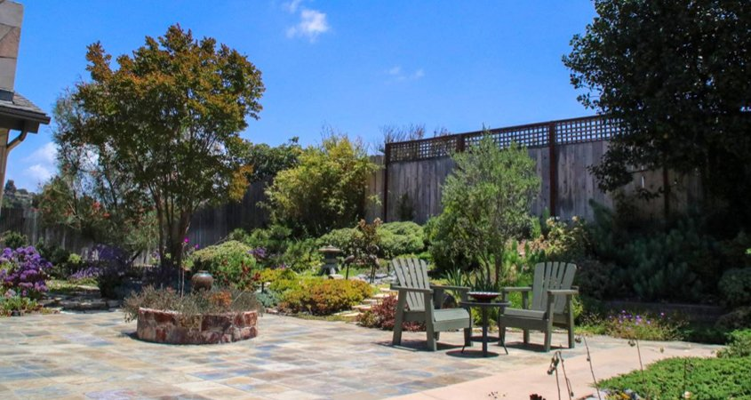 The transformed backyard with the unused pool filled in. Photo: Helix Water District