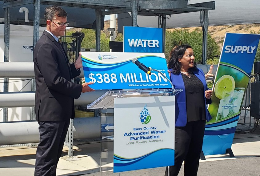 Radhika Fox (left), EPA Principal Deputy Assistant Administrator for Water, and Kyle Swanson, East County AWP Director. Photo: East County AWP EPA Funding