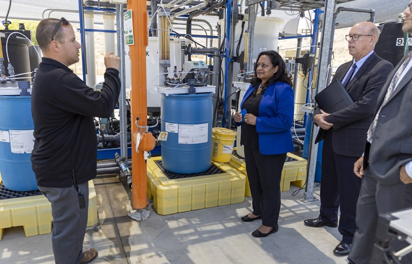 Radhika Fox of the EPA tours the East County Advanced Water Project Demonstration Facility in Santee. Photo: East County AWP EPA Funding
