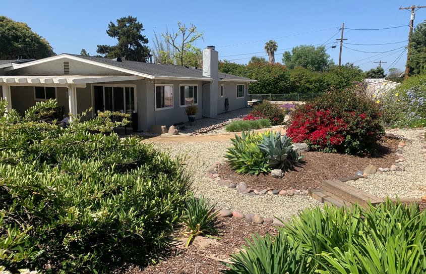 The Wagemester home's attractive new waterwise landscaping. Photo: Vista Irrigation District Vista 2021 Contest