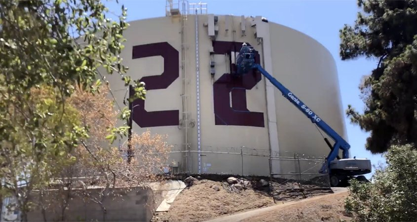 Fallbrook PUD recently completed the annual painting of Rattlesnake Tank to salute the Class of 2022. Photo: Fallbrook PUD