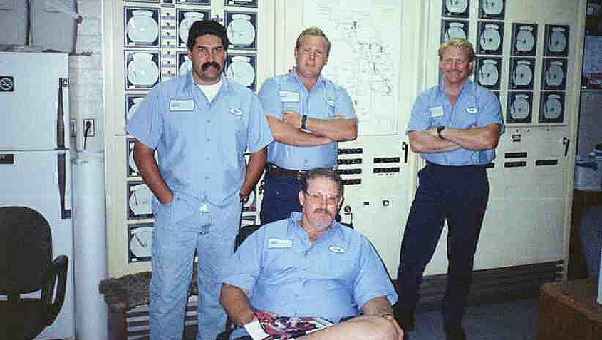 Ed Pedrazzi (far right) in 1996 with brother Jon Sherwood (second from right) and Vallecitos Water District employees Joe Lomeli and Rocky Eltzroth. Photo: Courtesy Ed Pedrazzi family ties