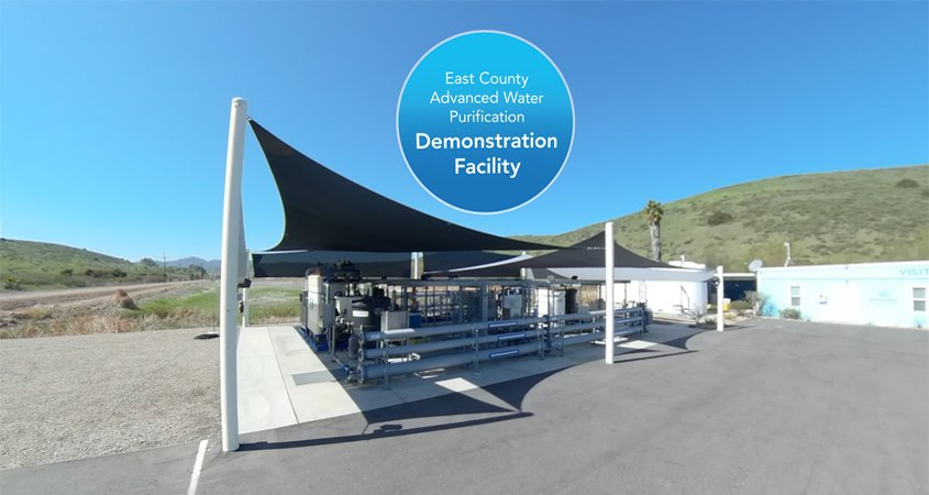 The East County AWP is a collaborative partnership between the Padre Dam Municipal Water District, Helix Water District, County of San Diego, and City of El Cajon. It will use sophisticated technology to provide 30% of current drinking water demands for East County residents. Photo: East County AWP virtual reality video tour